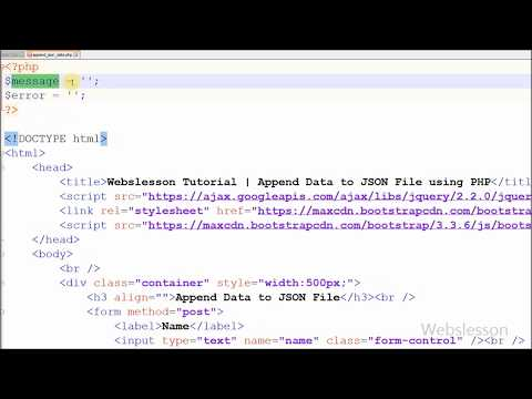 Append Data to JSON File using PHP | Webslesson