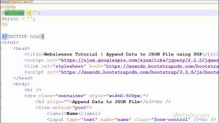 How to append form data json file in php programming language. i have create one html form, want add the into file. for this hav...