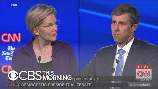 Democratic candidates take aim at frontrunner Elizabeth Warren