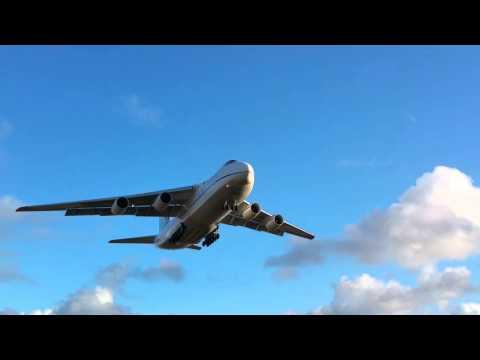 Antonov AN124 landing at Cornwall Newquay Airport.