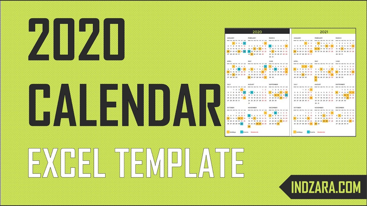 2020 Excel Calendar Template Free Download 20 Calendar Designs Youtube