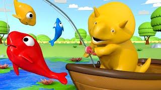 Lerne mit Dino - Dino geht Angeln & lernt Farben - Dino dem Dinosaurier 👶 Lehrreiche Cartoon