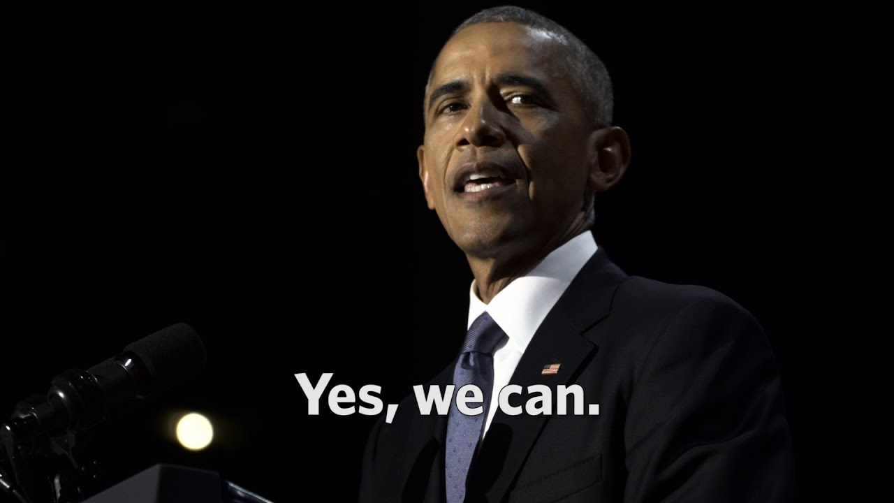 barack obama yes we can President obama bid farewell to the nation tuesday night in an emotional  speech that sought to comfort and encourage a country on edge.