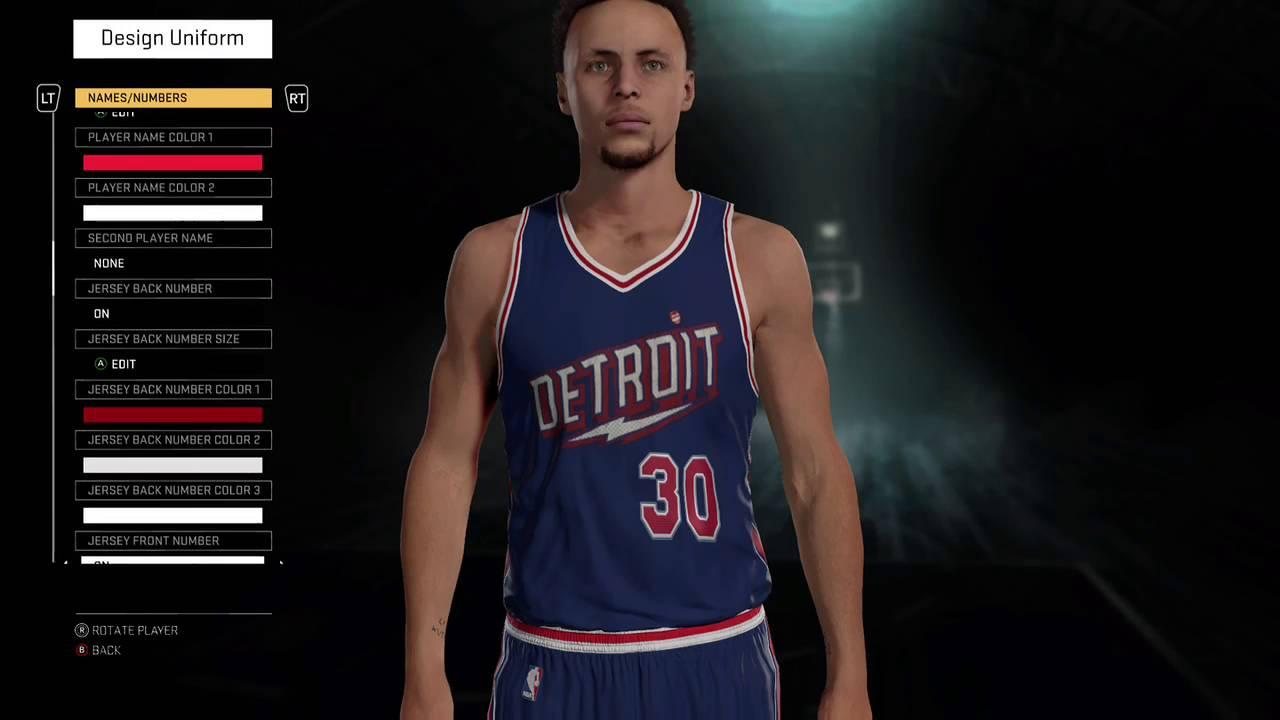NBA 2K16 Detroit Pistons lightning bolt away jersey - YouTube e3be18c5d