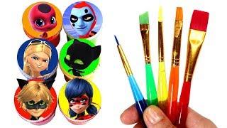 Miraculous Ladybug Drawing & Painting with Surprise Toys Cat Noir Tikki Plagg Antibug The Bubbler