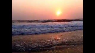 Индия, Гоа, Колва Бич пляж, море, волны. Закат солнца. Провожаем еще один день.