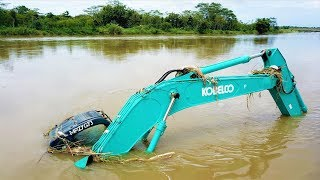 Excavator Accident Sink Underwater Heavy Recovery Kobelco SK200 Extended