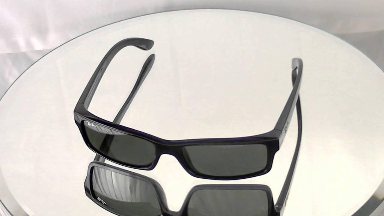 Ray-Ban Rectangular Black Genuine Sunglasses RB4151 601 - YouTube d3838a39208e
