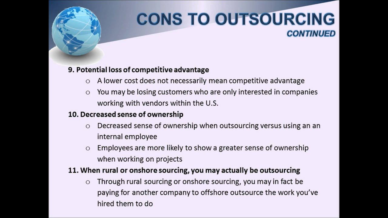 Advantages and disadvantages of outsourcing essay