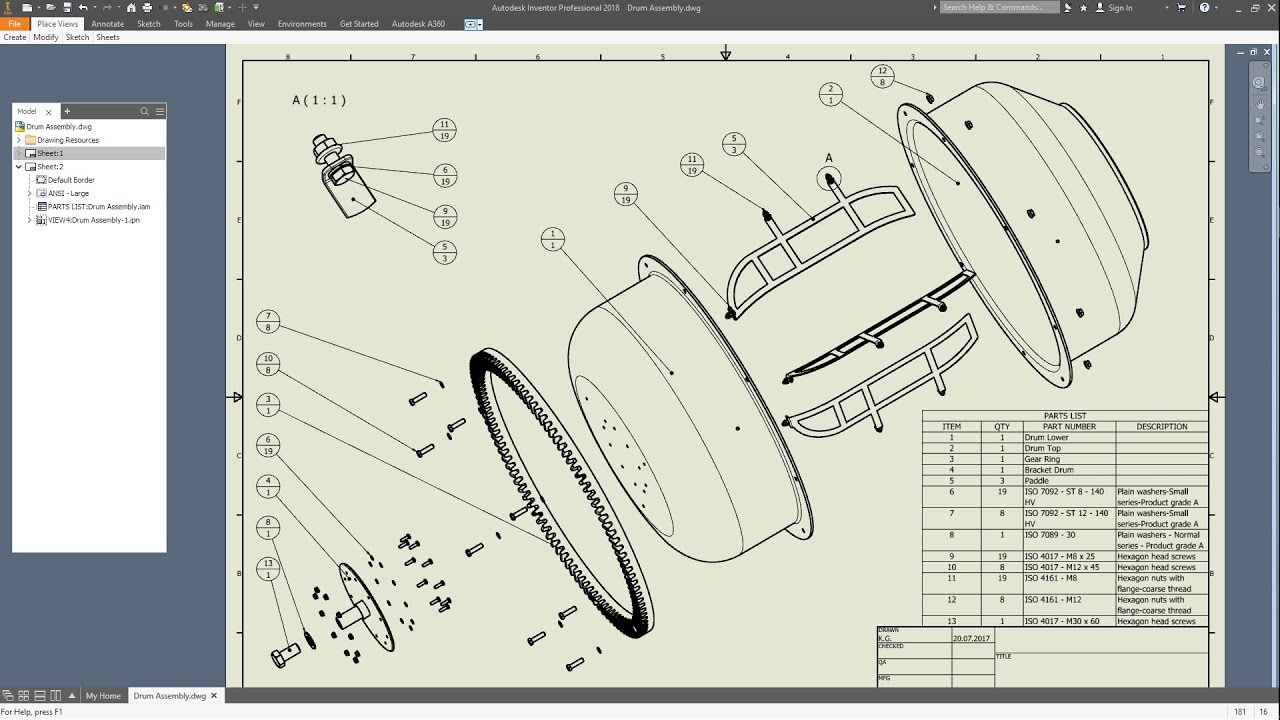 Inventor 2018 Drum Assembly Drawing Concrete Mixer