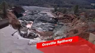 oroville spillway damage   rebar visible   lake oroville dam 2 27 17