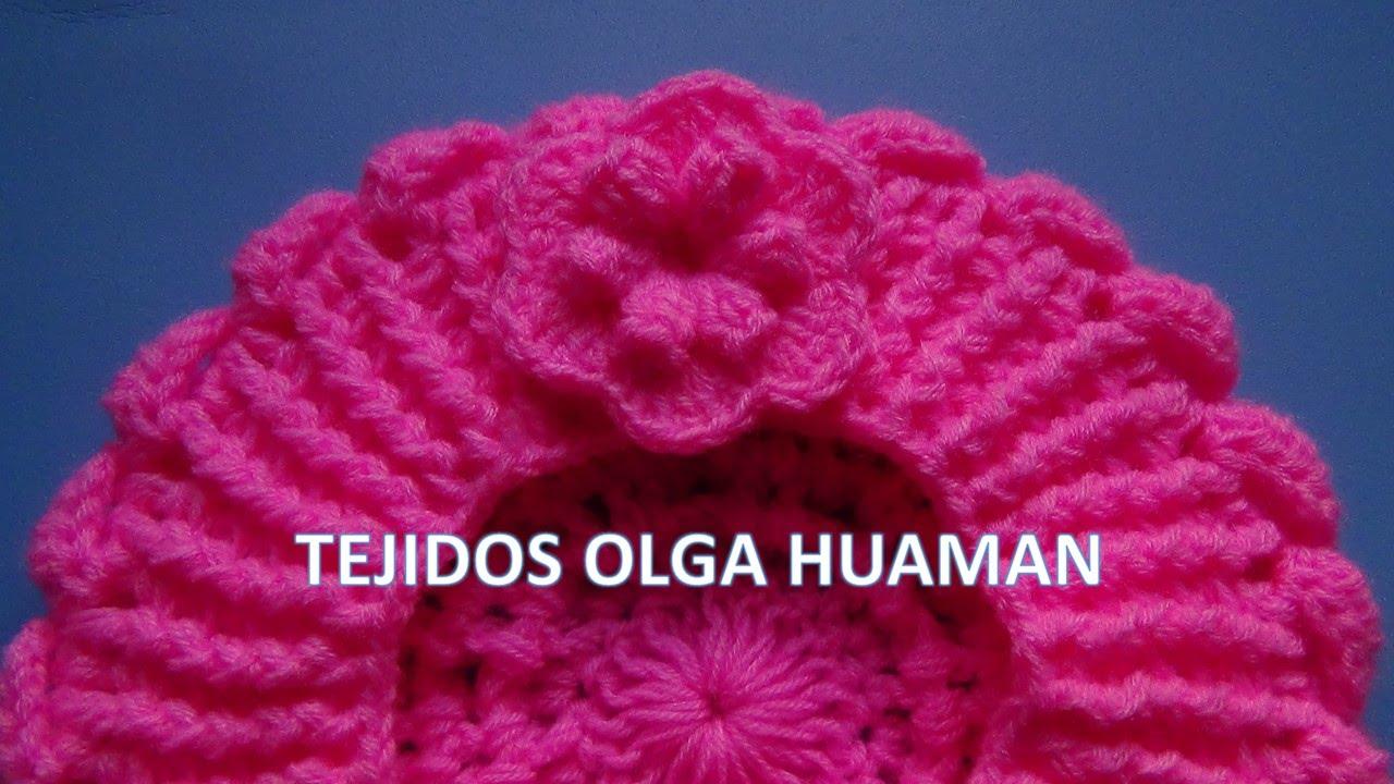 Flor tejido a crochet para boina de bebe o niña - YouTube