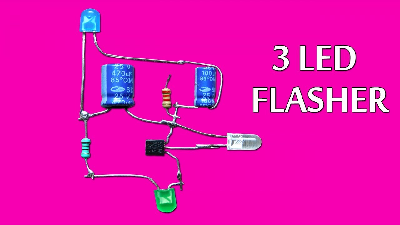 3 led flasher circuit using only one transistor [ 1280 x 720 Pixel ]