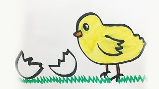 How to draw and color a Baby Chick -for kids!