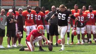Field goal kicking contest between Browns offense and defense for the orange jersey
