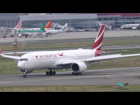 """1st landing Airbus A350-900 Air Mauritius """"Le Morne Brabant"""" 3B-NBP"""