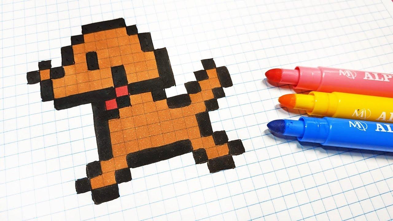 Handmade Pixel Art How To Draw A Little Dog Pixelart Youtube