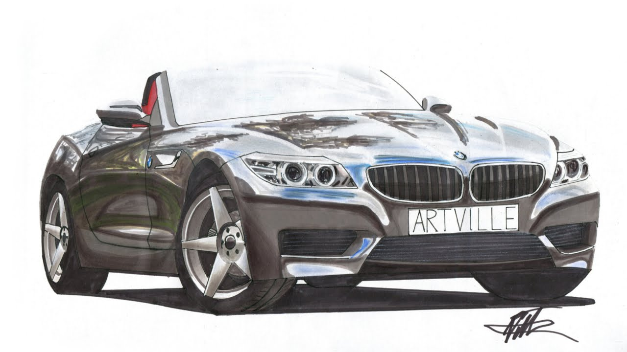 Realistic Car Drawing - BMW Z4 E89 - Time Lapse - YouTube