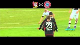Chicharito vs bayern Munich y disparo a thomas muller [leverkusen 0 vs 0 munich] 06-02-2016 HD