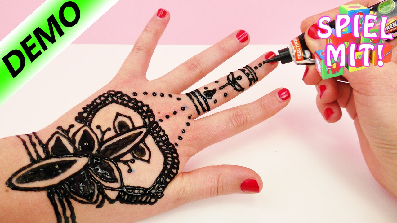 henna tattoo selber machen henna hand tattoo tutorial deutsch demo youtube. Black Bedroom Furniture Sets. Home Design Ideas