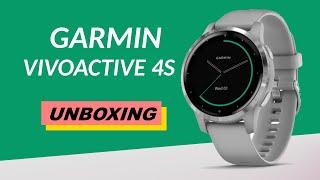 Garmin Vivoactive 4S Powder Gray/Silver Unboxing HD (010-02172-04)