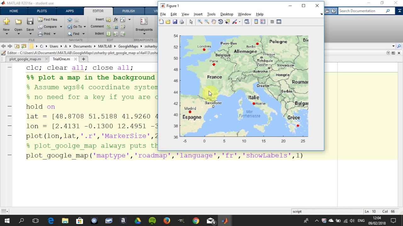 Plot a google map using the Static Google Maps API  in Matlab