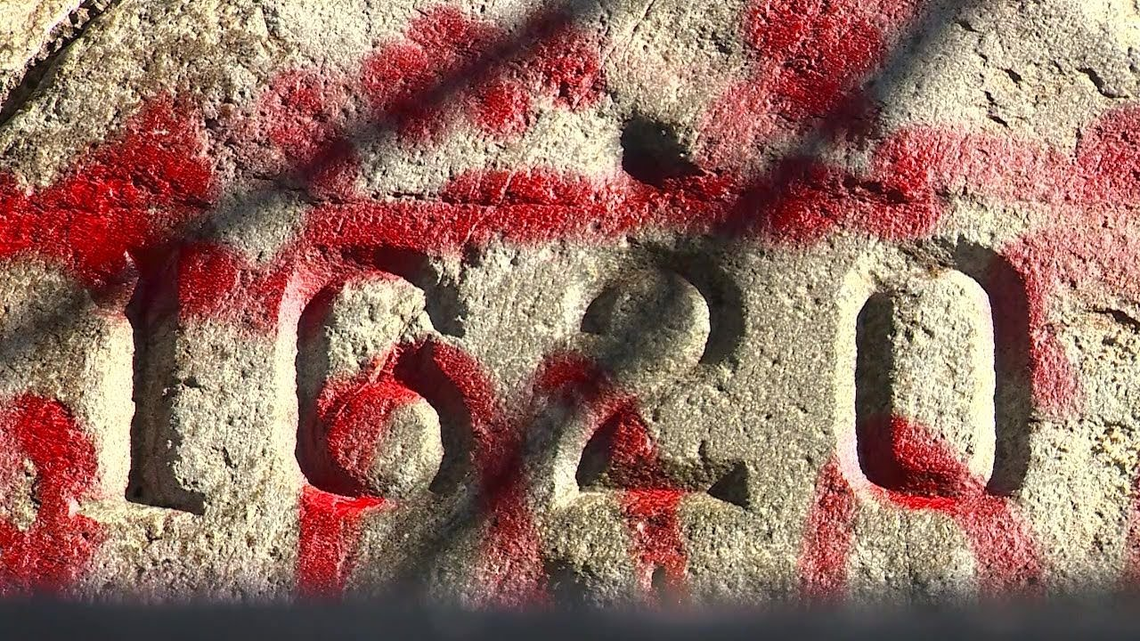 Vandals cover historic Plymouth Rock in red spray paint