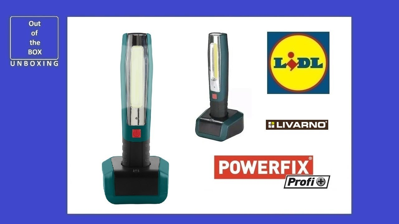 Powerfix Profi Plus Cordless Work Light Unboxing Lidl Livarno 5v 1000ma Ip20 Led 4000mah 3 7v