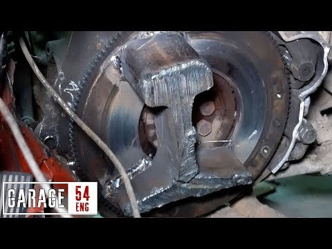 Attaching a rail to the flywheel – monstrous engine imbalance