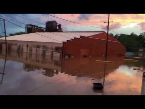 West Blue Fork River Causes Flash Flooding in Salem, Indiana