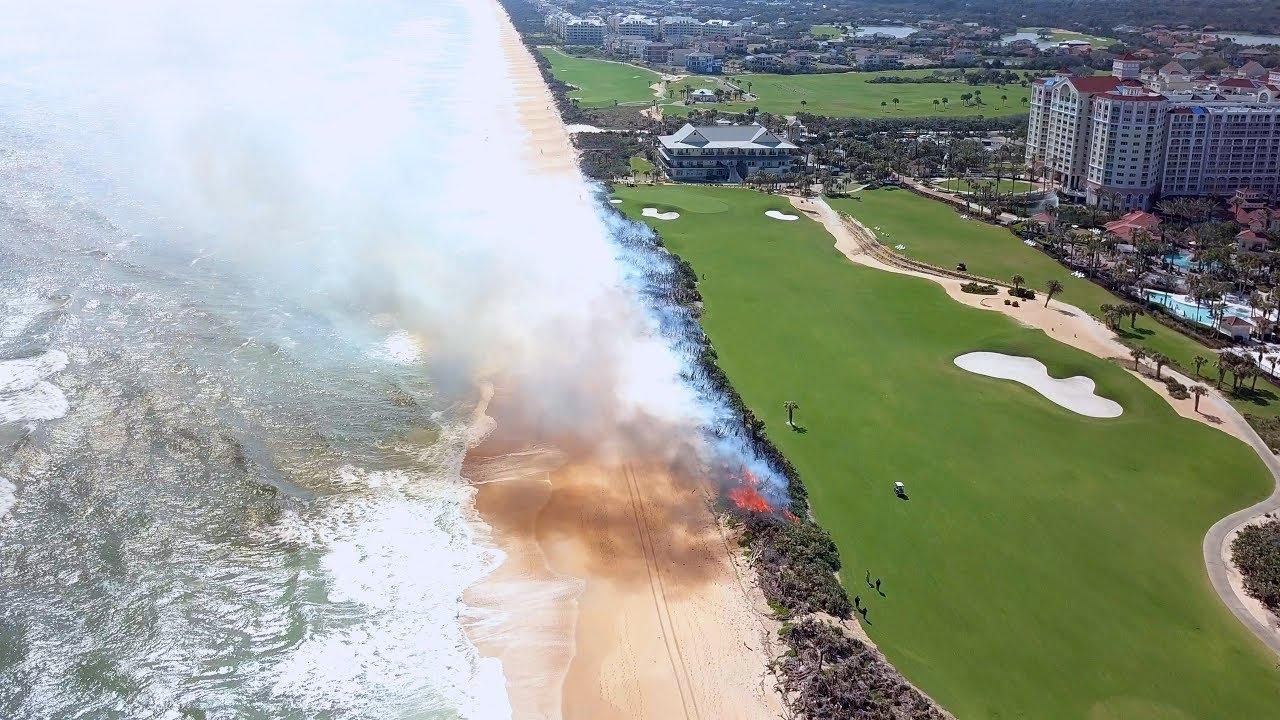 Hammock Beach Ocean Course Controlled Burn Flyover Aerial Dji Mavic Pro