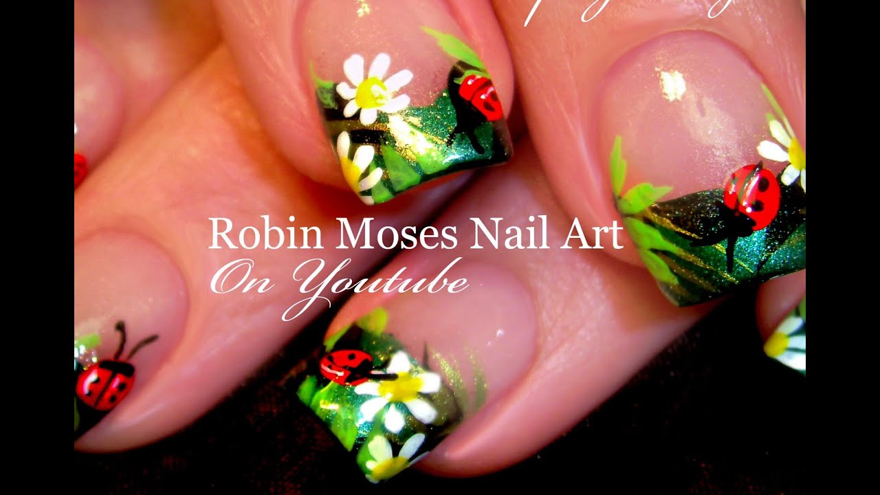 Diy ladybug nails easy summer nail art design tutorial youtube prinsesfo Image collections