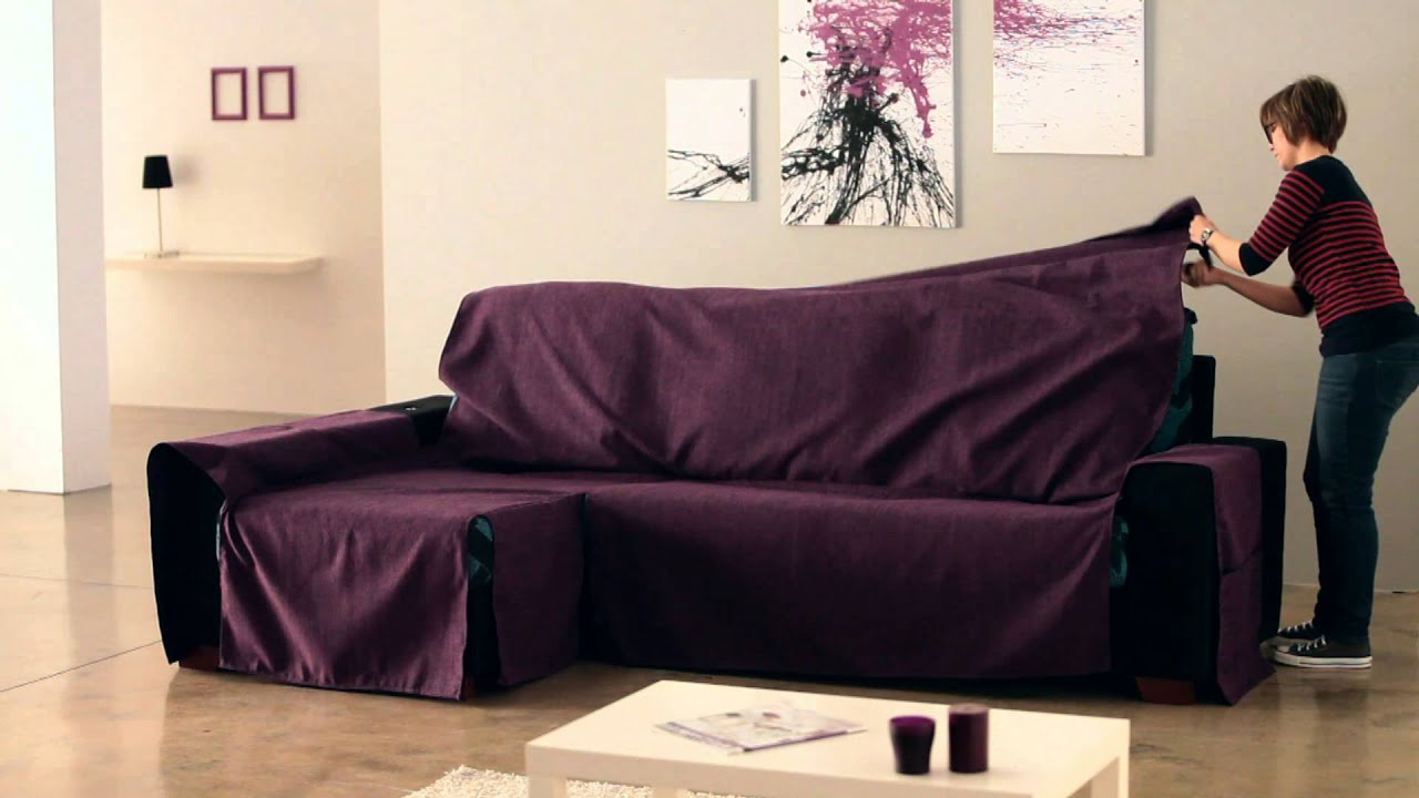 Cubre chaise longue de brazos cosidos youtube for Sofas con chaise longue