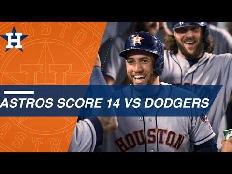 Astros score 14 runs against the Dodgers