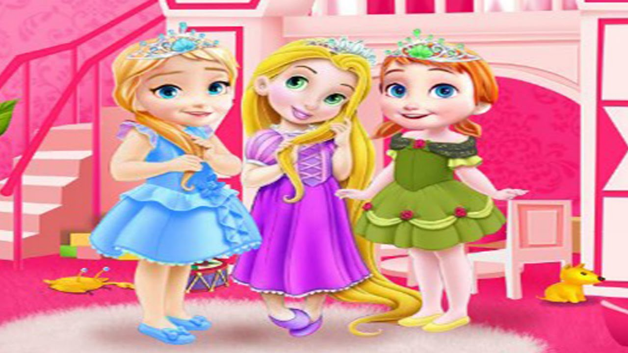 Disney Princess Frozen Baby Anna,Elsa And Rapunzel Room Cleaning Baby Games  HD   YouTube