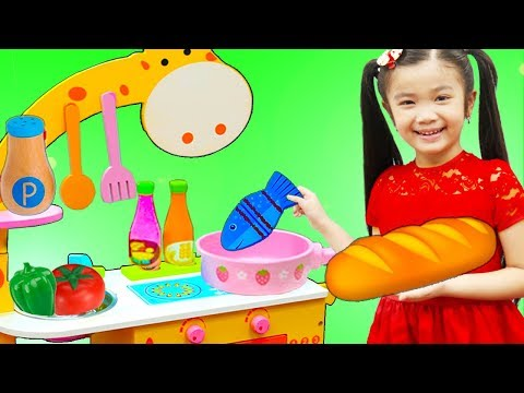 Hana Pretend Play w/ Cute Animal Kitchen Cooking Toy Kids Playset