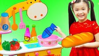 Hana Pretend Play w/ Cute Animal Kitchen Cooking Toy Kids Playset