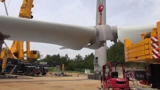 ㈱ヤマガタLTM11200nx ENERCON E-82 ブレード上架作業