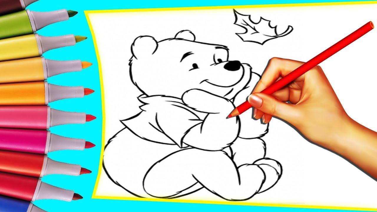 Винни Пух, раскрашиваем картинки для малышей - YouTube