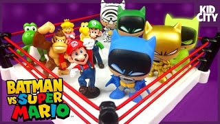 BATMAN Toys vs Super Mario CRAZY Shake Rumble w/ Batman Clone Mystery Minis by KIDCITY