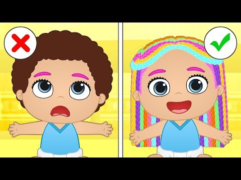 BABY ALEX AND LILY Hairstyling session at Beauty Salon 💆🏻 Educational Cartoons