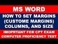 How to set custome margins columns and size in ms word
