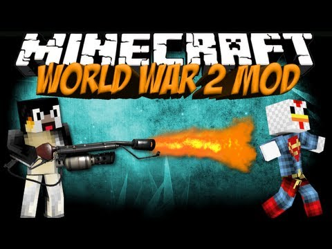World War 2 Mod: Minecraft Combat+ Mod Showcase: FlameThrowers, Bombs & Flashbangs!