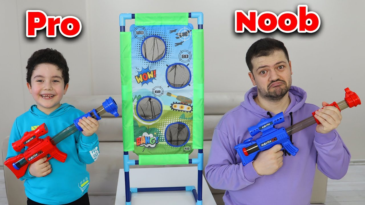 Yusuf and Dad play with Shooting Games | Pro-Noob