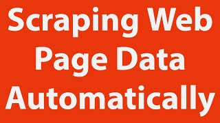 Scraping Web Page Data Automatically with Excel VBA
