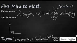 4th Grade Math Complementary and Supplementary Angles