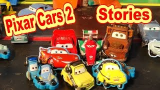 Disney Pixar Cars2 Stuck on Stories with Lightning McQueen, Mater, Professor Z, Luigi and Guido and