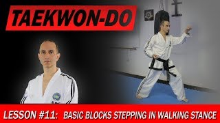 Basic blocks stepping in Walking Stance - Taekwon-Do Lesson #11
