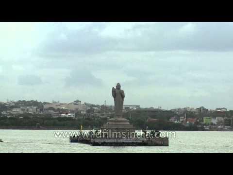 Gautam Buddha monolith in the middle of Hussain Sagar Lake in Hyderabad