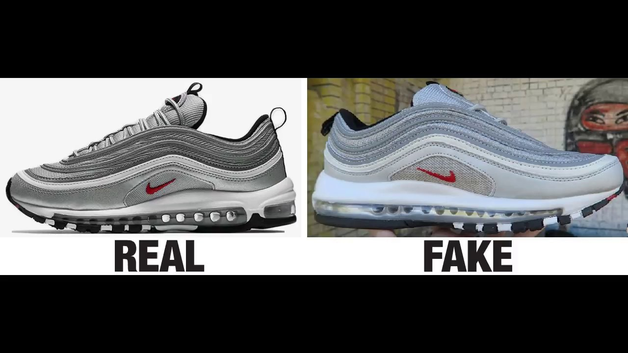 new concept b56e6 cef5a How To Spot Fake Nike Air Max 97 Sneakers / Trainers Authentic vs Replica  Comparison